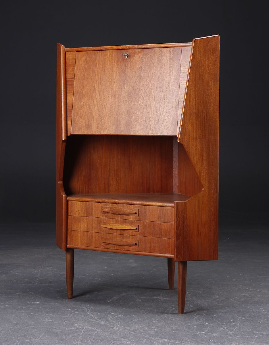 Danish Modern Corner Bar Cabinet Sharp Angles Ebay Mid