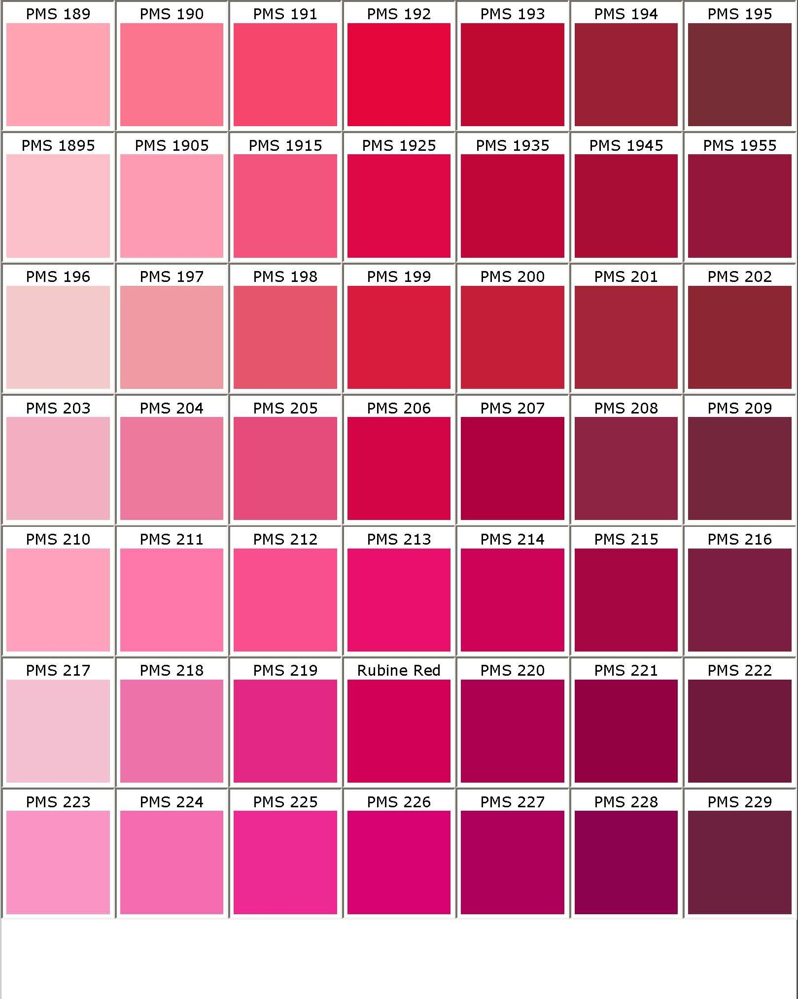 I like the top row of this color chart pms 189 to pms 194 pantone shades of pink color chart nvjuhfo Images