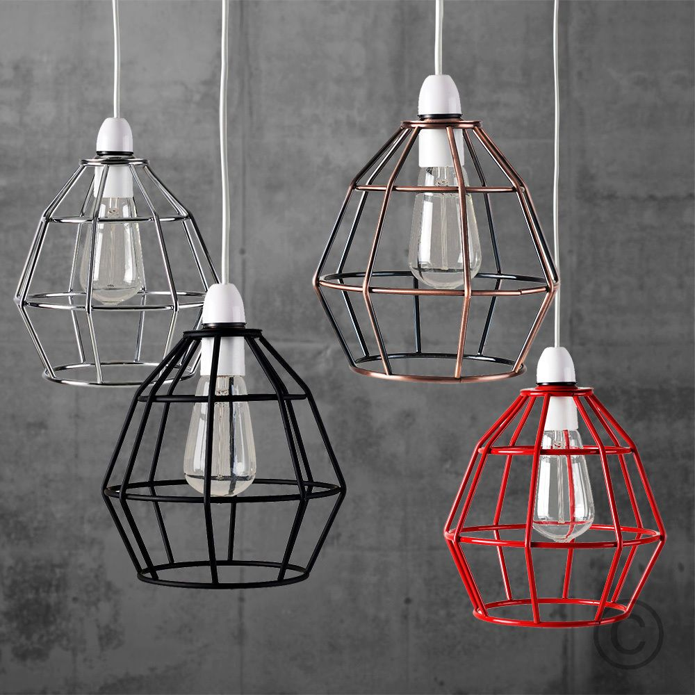 Vintage industrial style metal cage wire frame ceiling pendant light vintage industrial style metal cage wire frame ceiling pendant light lamp shades in home furniture diy lighting lampshades lightshades ebay greentooth Gallery