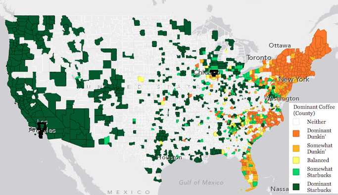 Map of the US showing which chain of coffee shops are ... Images Of Starbucks United States Map on starbucks the coffee belt map, starbucks store locator, wi-fi locations map, starbucks china map, starbucks global map, starbucks wikimedia commons map, starbucks globalization map, starbucks world map,