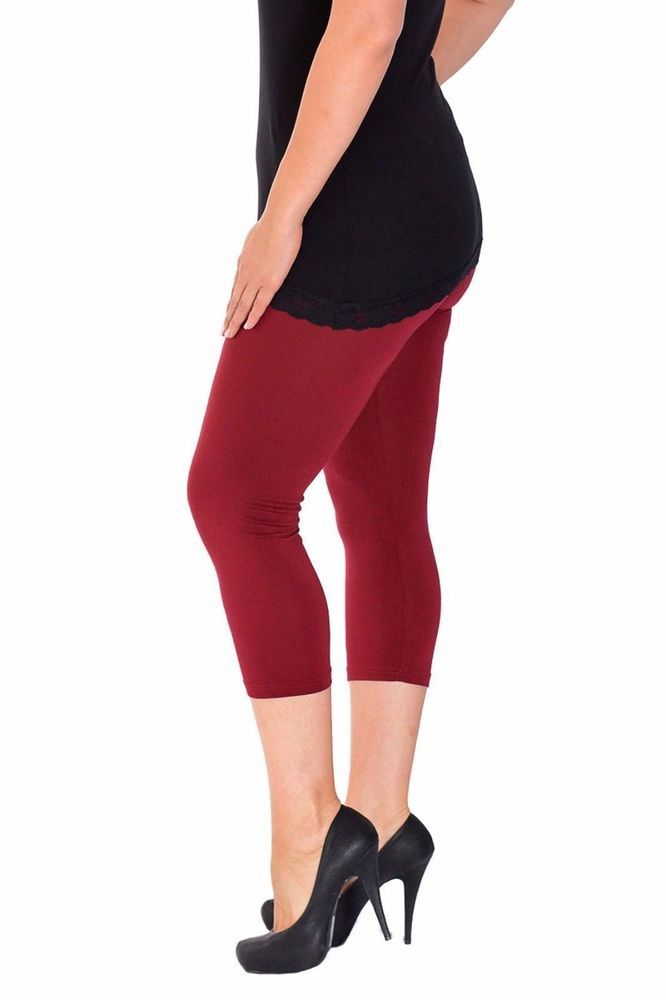 WOMENS VISCOSE PLAIN FULL LENGTH ELASTICATED WAIST LEGGINGS PLUS SIZES 8-26