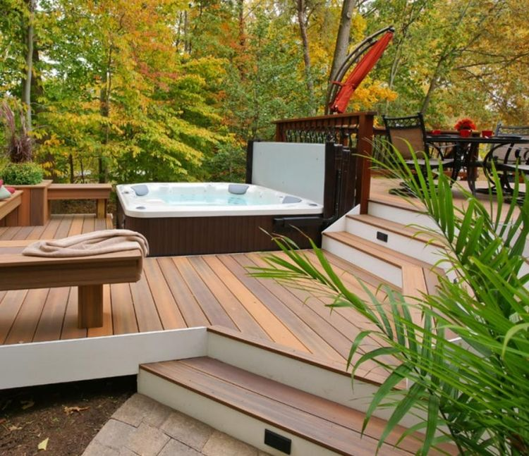 poolumrandung holz wpc terrasse stufen fundament ebene whirlpool terrassengestaltung. Black Bedroom Furniture Sets. Home Design Ideas