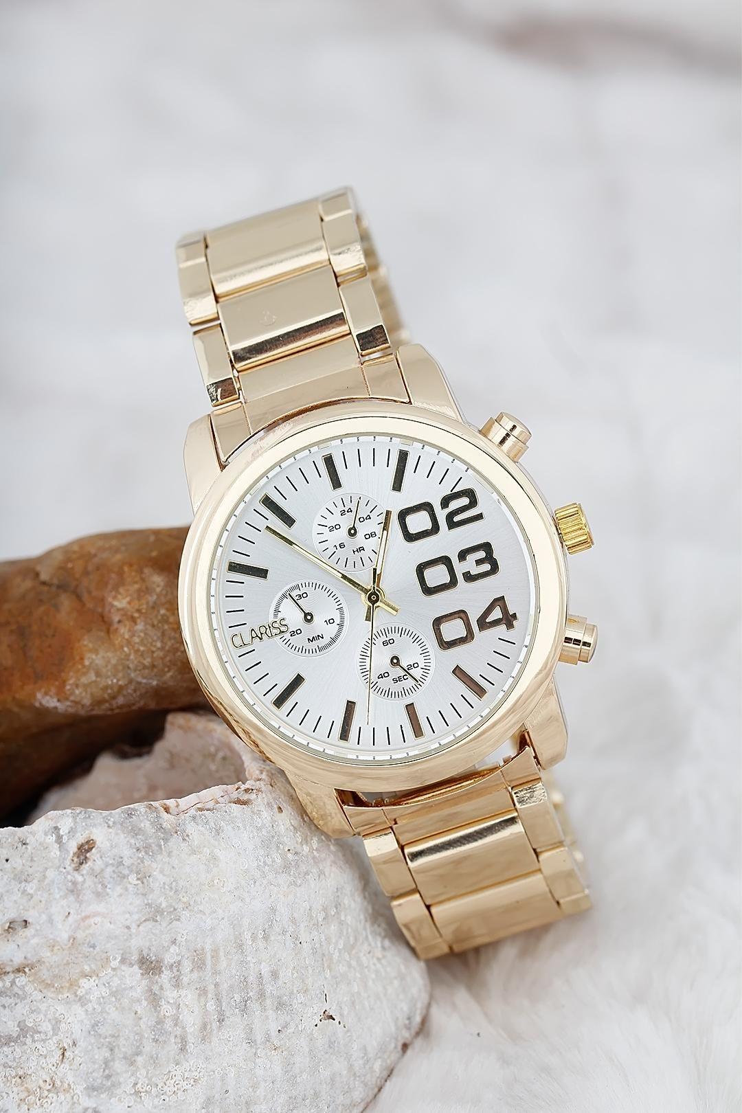 Bronz Ve Beyaz Renk Yeni Sezon Clariss Marka Metal Kordonlu Bayan Saat Stok Kodu Bs1007 Hediye Bayan Saatleri Aksesuarlar Ve Taki
