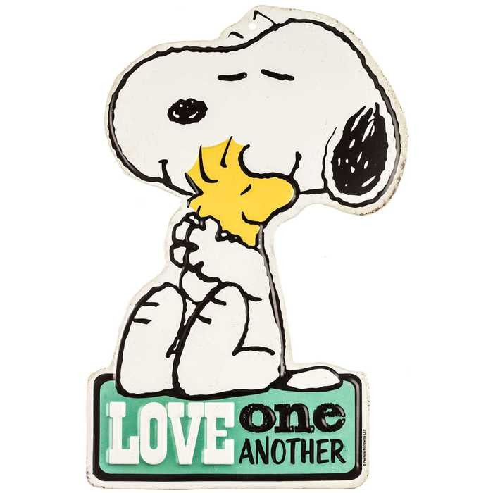 Love One Another Snoopy Woodstock Tin Sign Snoopy E Estampas