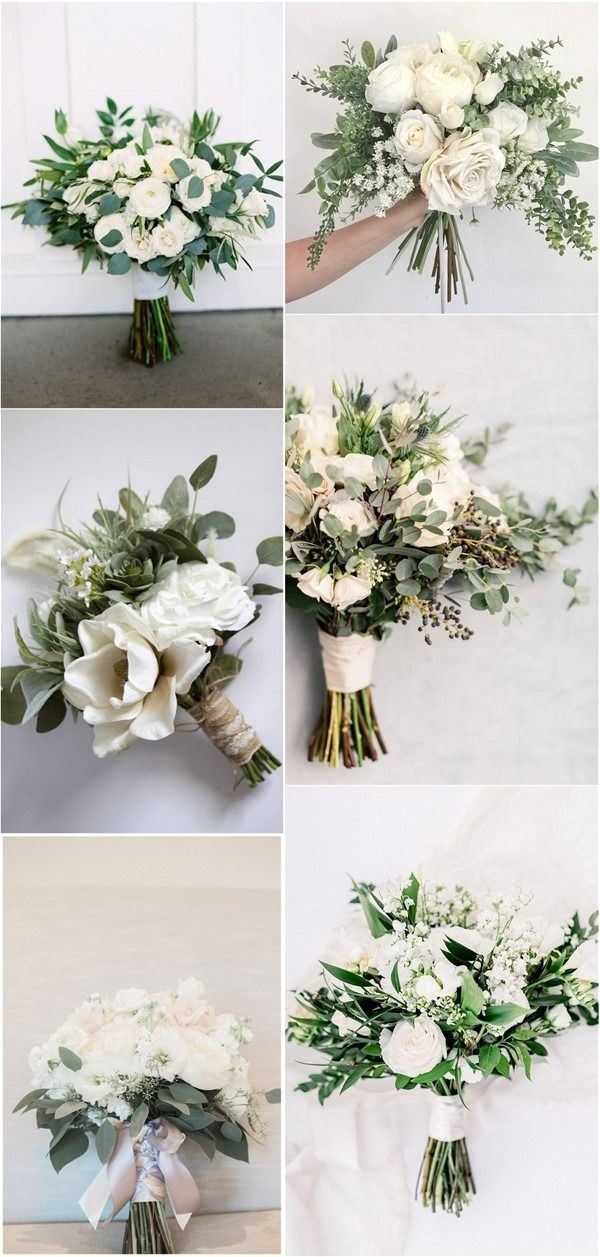 35 Simple White and Greenery Wedding Bouquets
