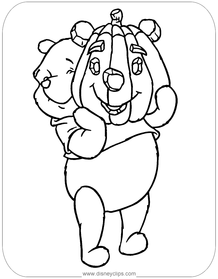 Coloring Page Of Winnie The Pooh Holding A Carved Pumpkin Halloween Halloween Coloring Pages Disney Halloween Coloring Pages Disney Coloring Pages