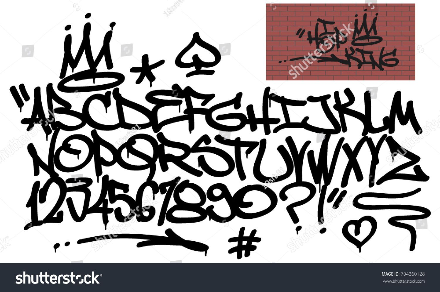 Spray graffiti tagging font and signs crown heart star arrow dot quotation mark number spade hip hop king quote on brick wall background