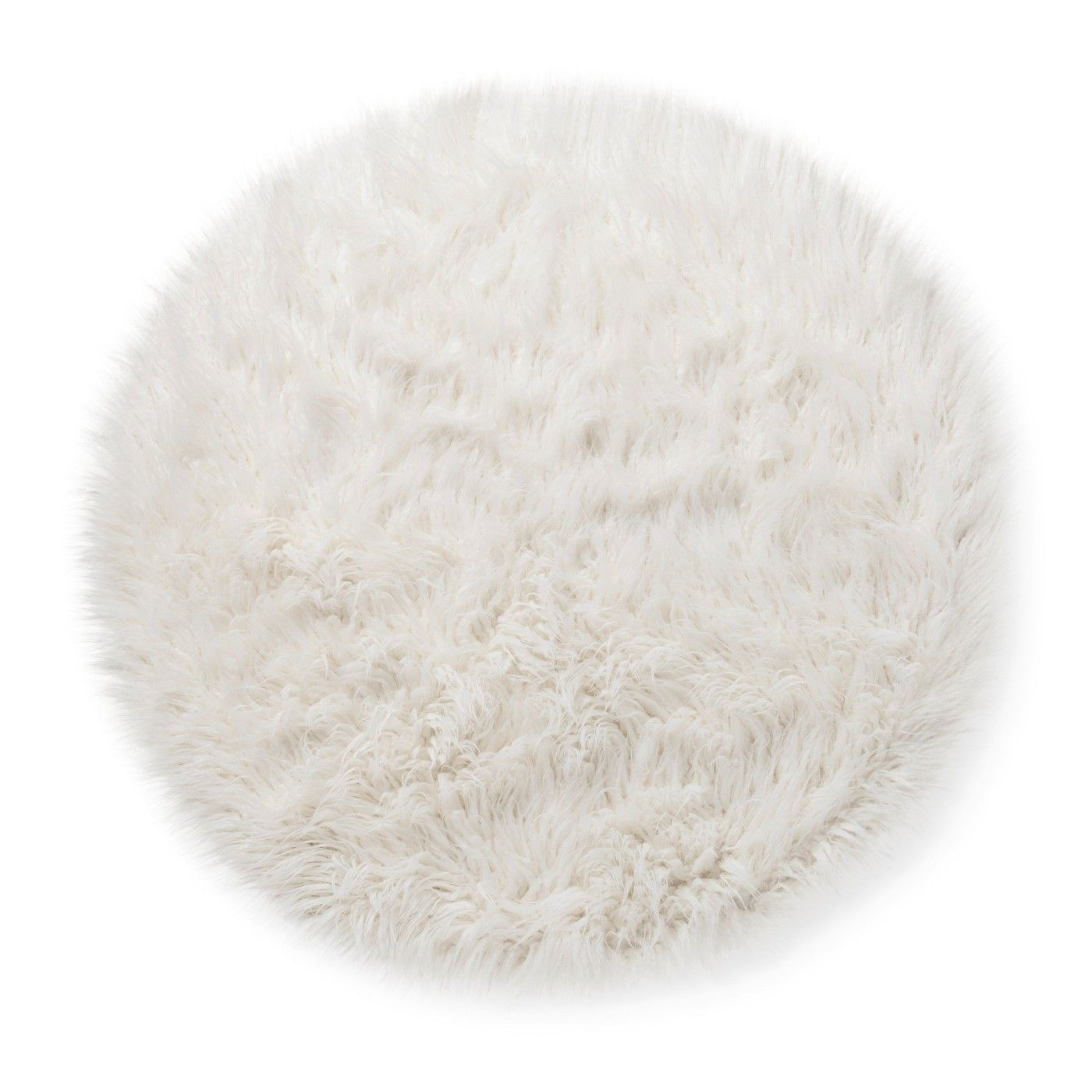 Faux Fur Round Area Rug Champagne 4-Feet Shaggy Carpet Fluffy Kids Play Mat Floor Decor Living Room Bedroom No Shedding Hypoallergenic Non-Slip Durable