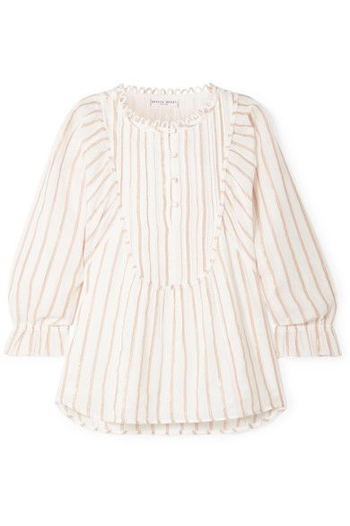 APIECE APART - Cala striped cotton and Lurex-blend voile top #designofblouse