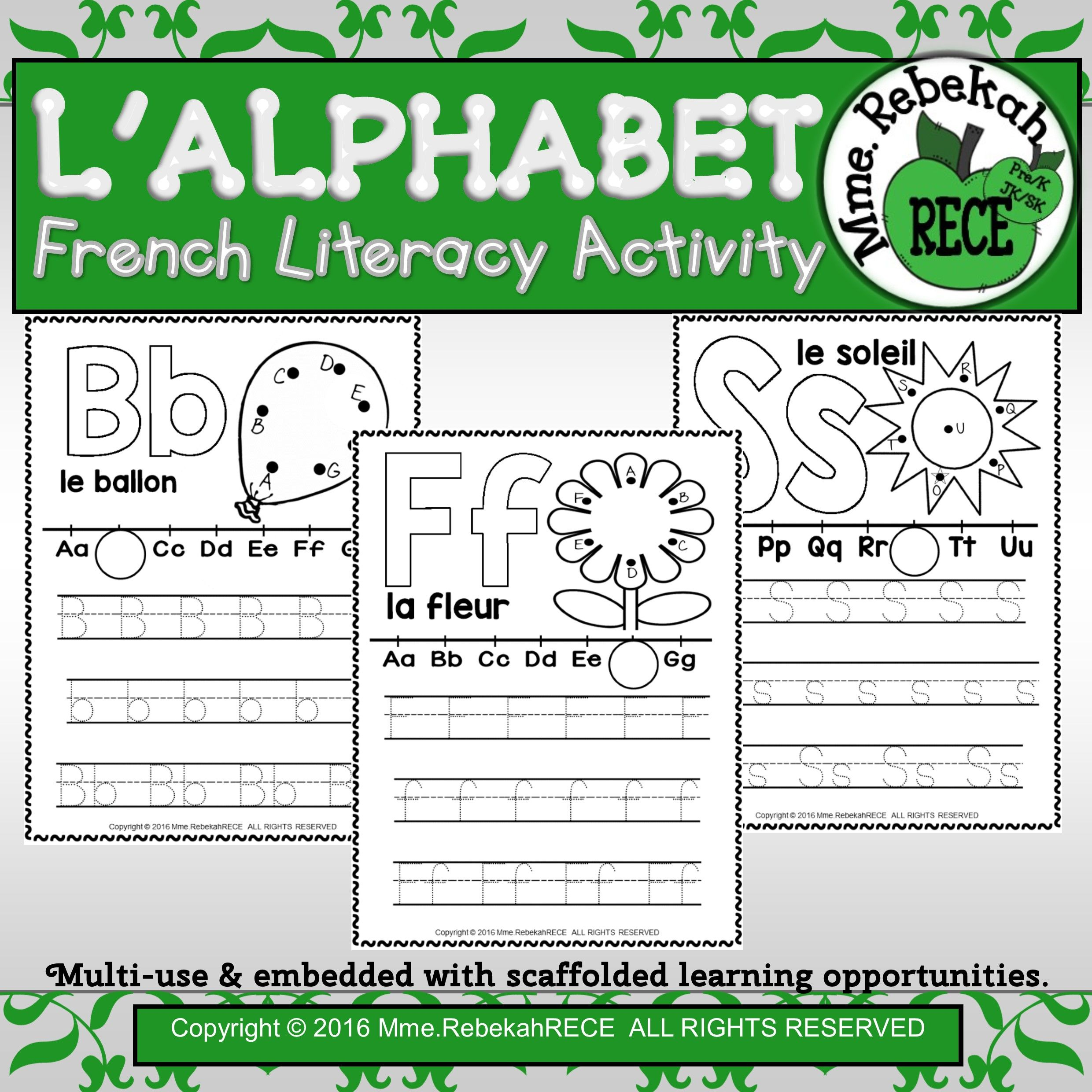 French Alphabet Activity Letters Practice Sheets | Emergent ...