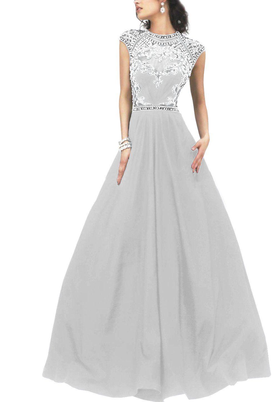 Kiss rain womenus beaded crew prom dresses long lace appliques