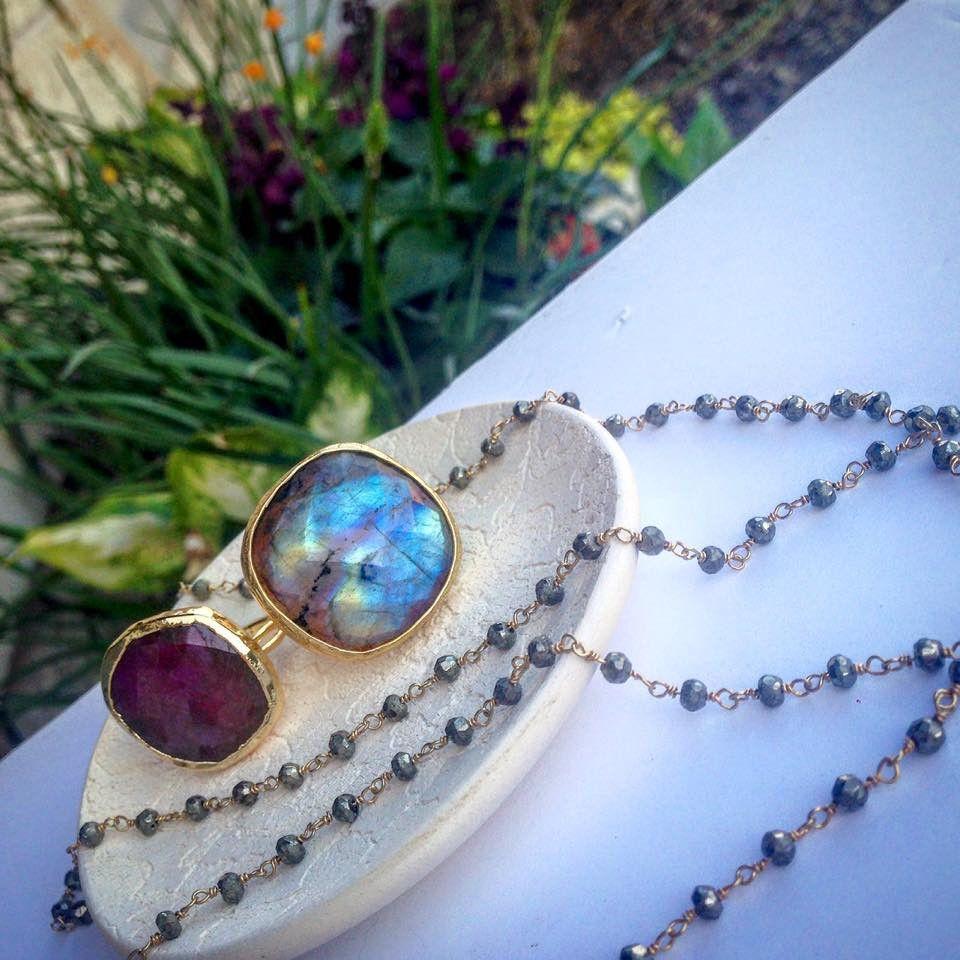 18k Gold Plated Natural Gemstone Adjustable Laborodite Ring