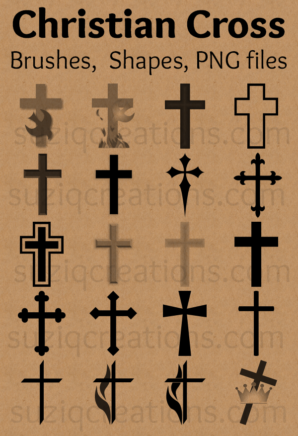525adb745dcdc Download a set of free Christian cross symbols as vector shapes and brush  presets for Photoshop, Photoshop Elements, and other graphics software.