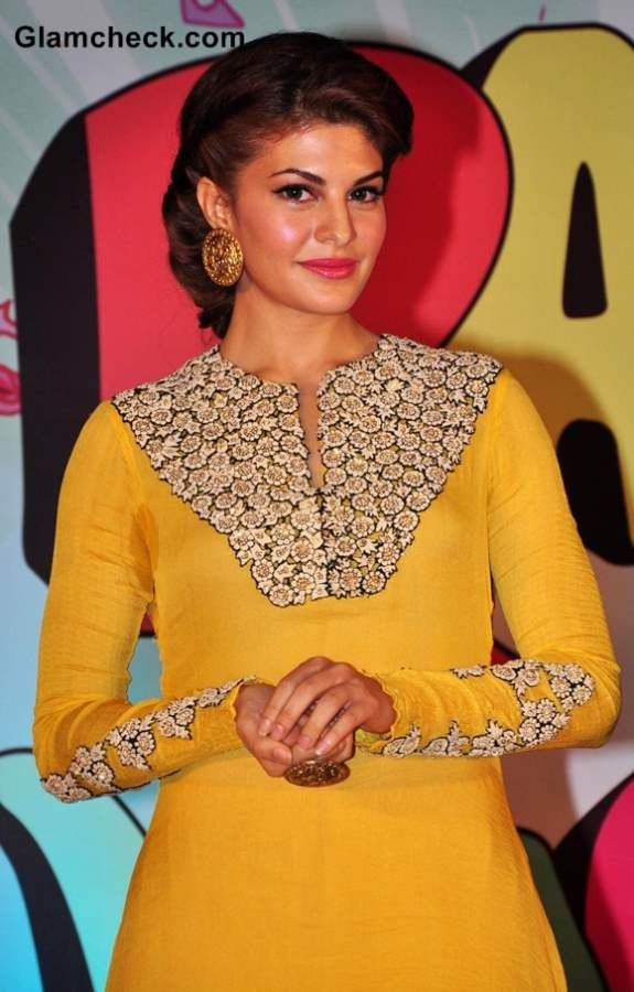 Easy Hairstyle For Salwar Suit : Jacqueline fernandez in nupur kanoi yellow salwar kameez