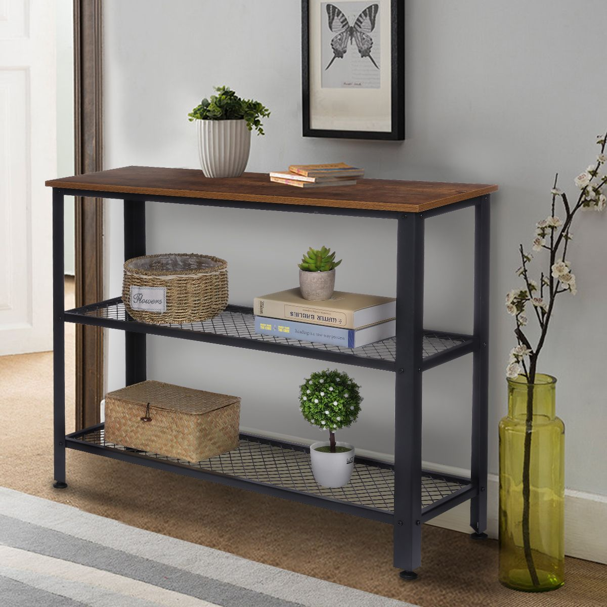 Kingso Console Table With Storage Shelves For Entryway Hallway Sofa Side Tables Living Room Bedroom Com In 2021 Rustic - Side Table With Storage Shelves