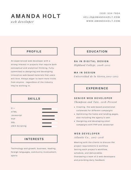 Pastel Pink Box Minimalist Resume Resume Design Graphic