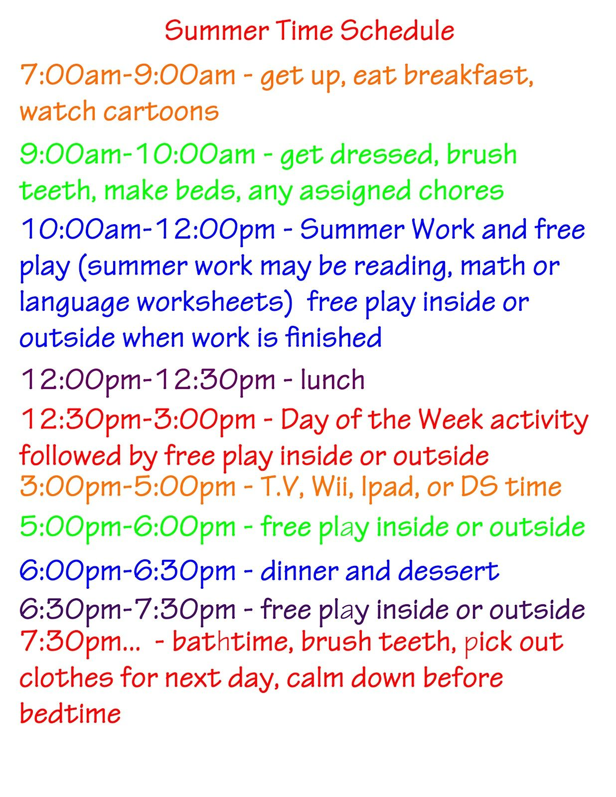 Summer Activities Schedule And Ideas