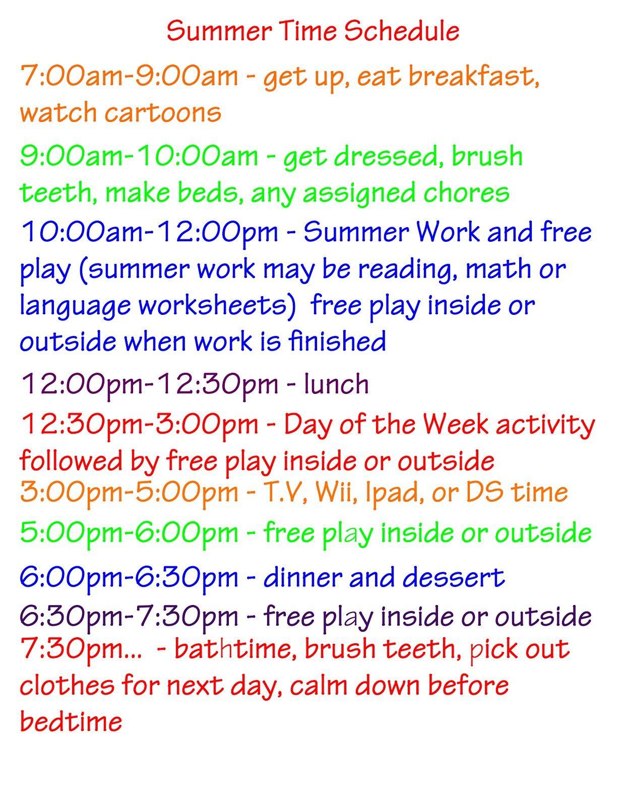 Summer Activities Schedule And Ideas