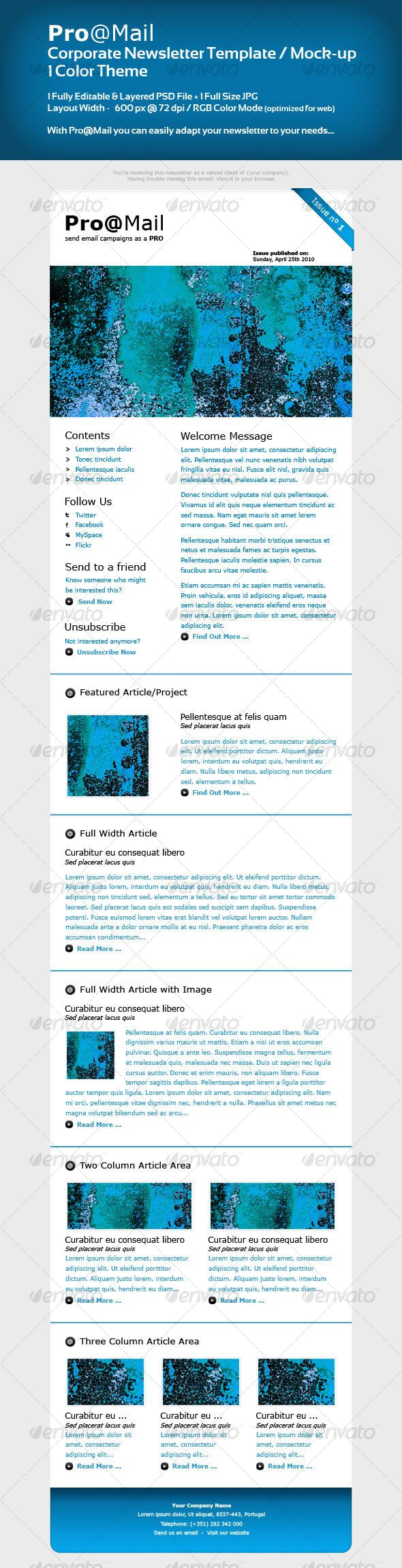 Corporate Newsletter Template / Mock-up | Newsletter templates ...