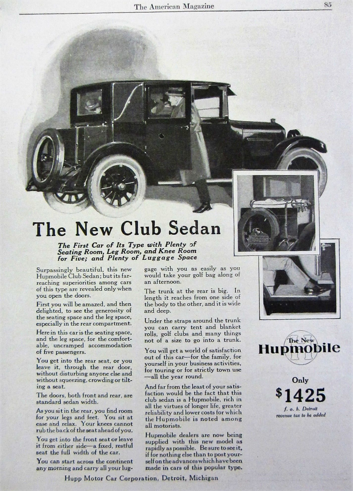 1924 Hupmobile Club Sedan Vintage Advertisement Old Automobile Antique Car Magazine Print Ad Automotive Wall Art Man Cave Wall Art Vintage Advertisement Sedan