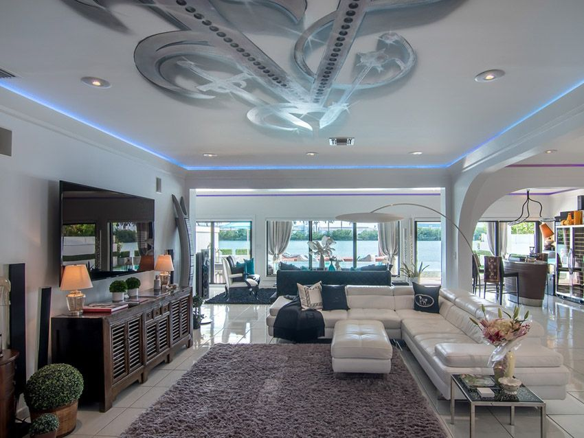 Modern living room with white sectional couch