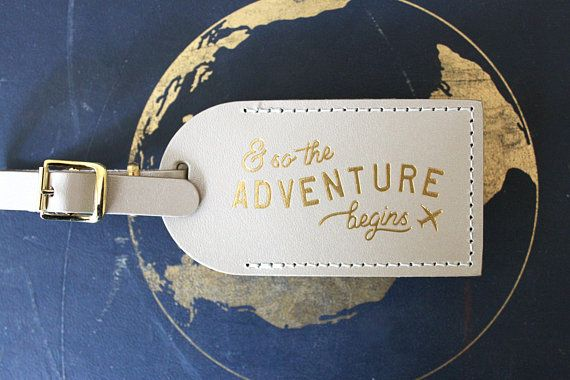 And So The Adventure Begins Luggage Tags Wedding Favors Or