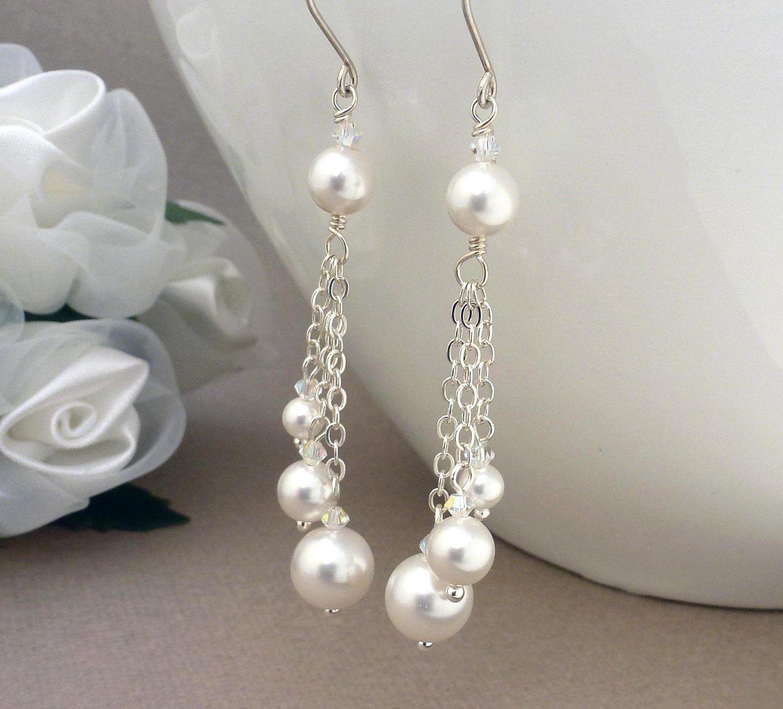 long white pearl earrings, sterling silver, bridal wedding jewelry