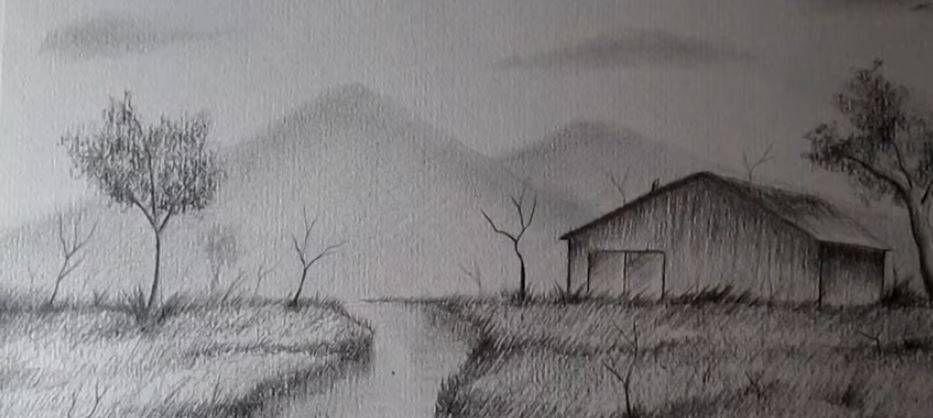 Paso 8 Para Aprender A Dibujar Paisajes A Lapiz Landscape Sketch Landscape Painting Tutorial Easy Drawings