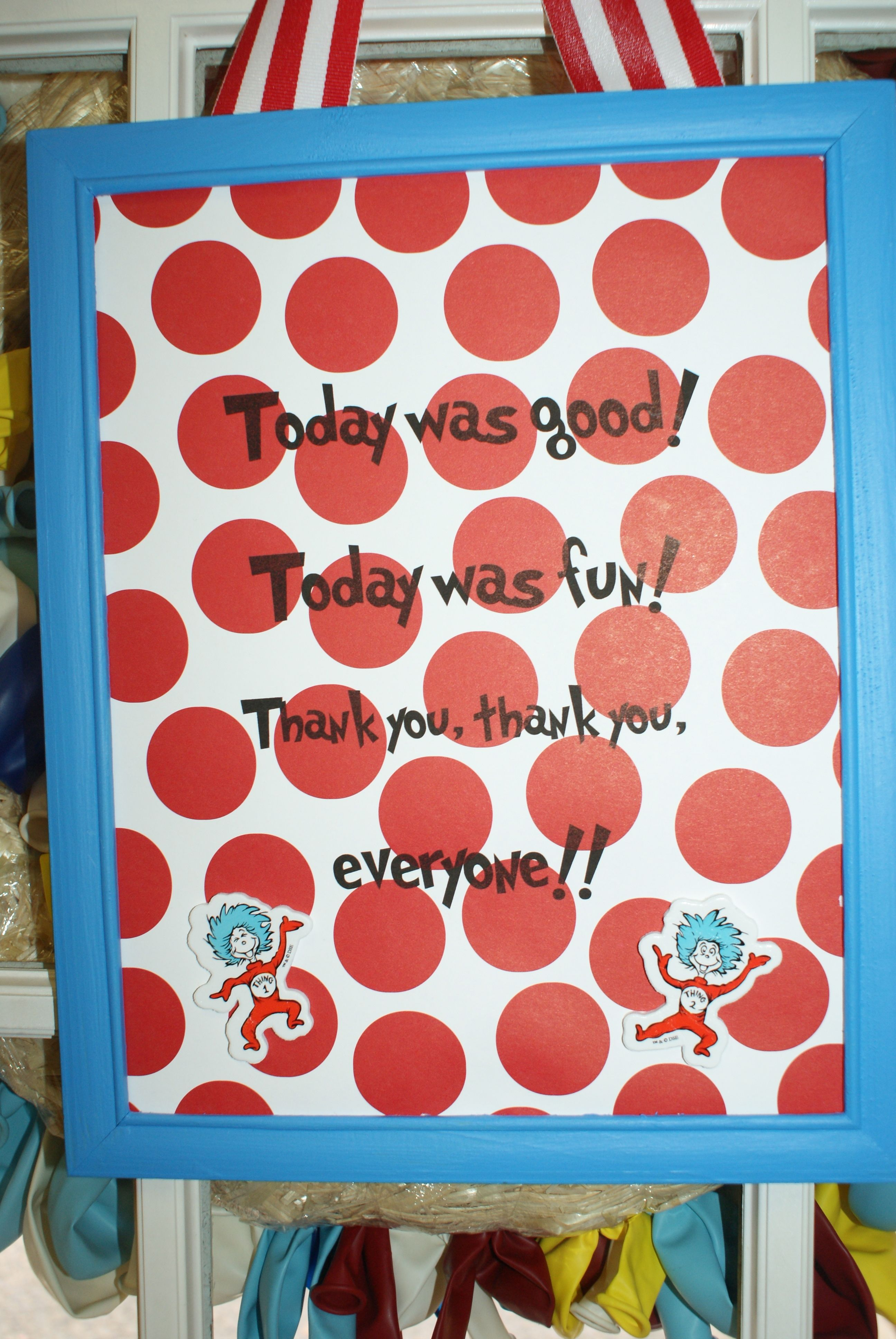 Thing 1 and Thing 2 Dr Seuss Party This will be cute at the t