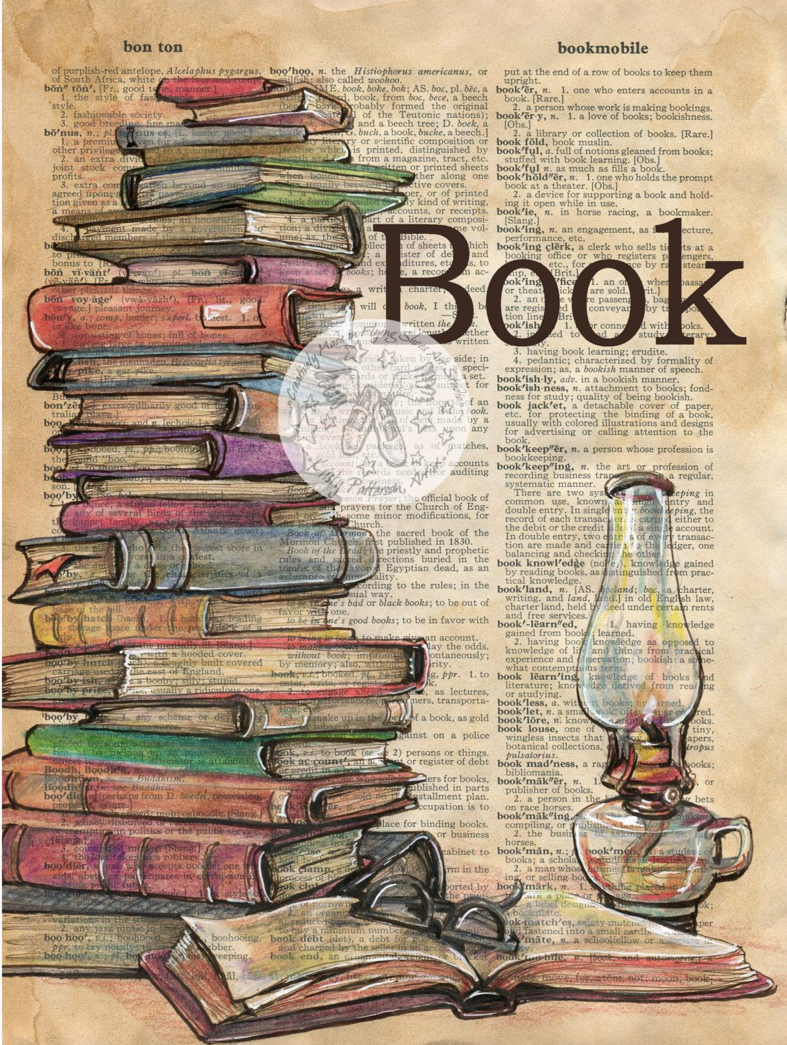 PRINT: Book Mixed Media Drawing on Distressed, Dictionary Page ...