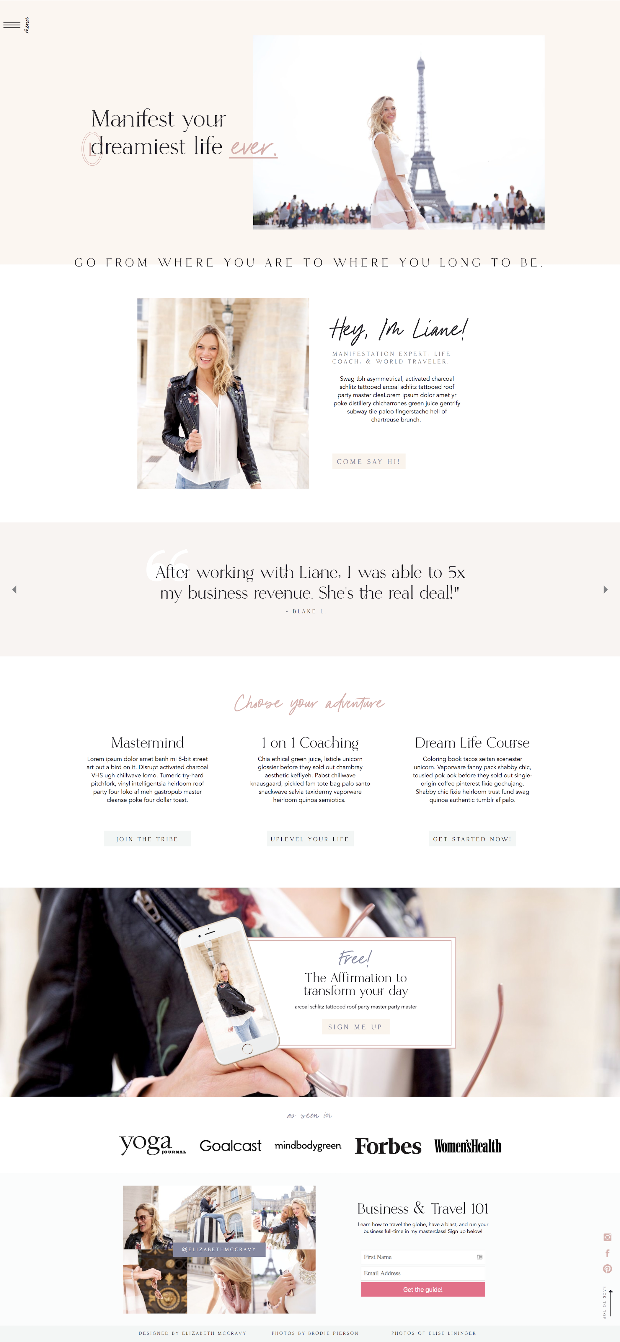 Website template for life coaches, nutritionists, personal ...