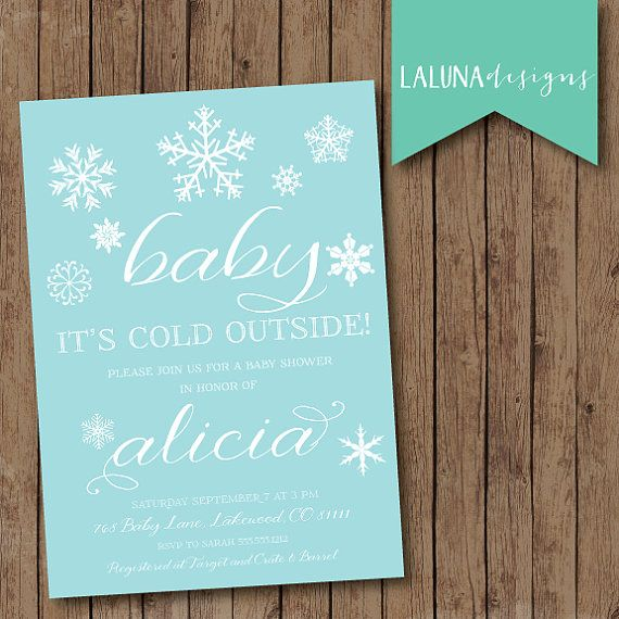 winter baby shower invitation, baby it's cold outside, snowflake, Baby shower invitations