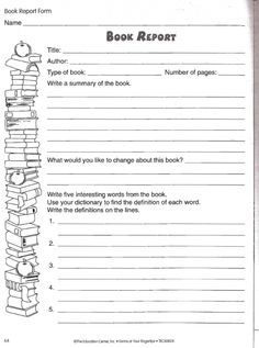 Book Report Worksheet  Printable Book Report Forms