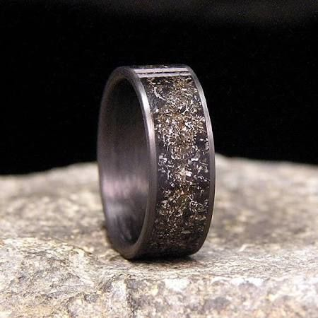 Gibeon Meteorite Shavings Inlay Carbon Fiber Wedding Band ...