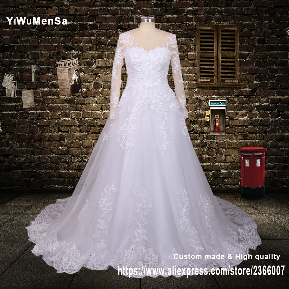 >> Click to Buy << YiWuMenSa Romantic See Through sexy Back Lace A line Wedding dresses 2017 vestidos de noiva Custom made Pearls Vintage Dress New #Affiliate