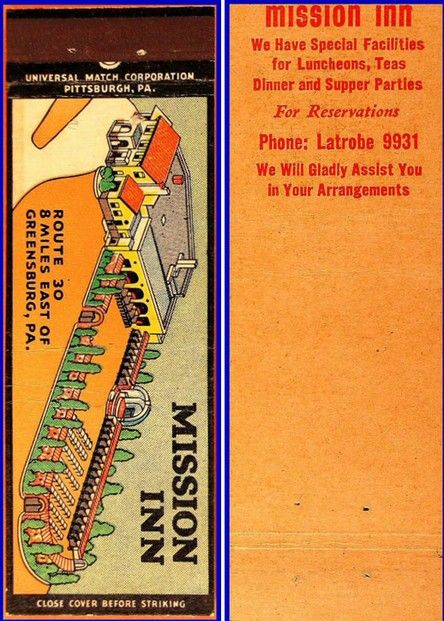 Mission Inn - Greensburg, Pennsylvania - 1940s Match Cover