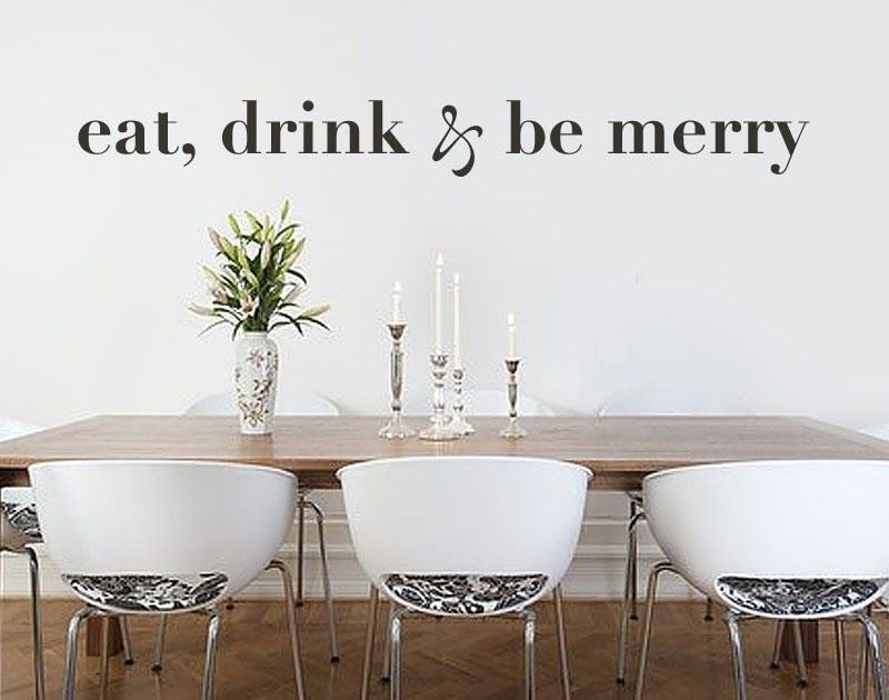 Kitchen Wall Decal Eat Drink Be Merry Quote Dinning Room Vinyl