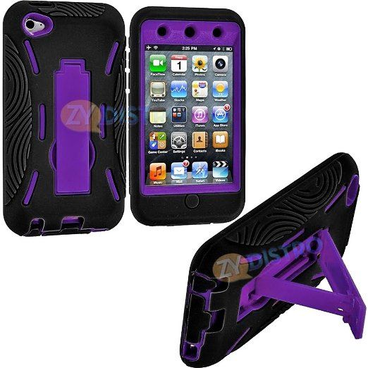 Amazon.com: myLife (TM) Black + Purple Tough Series (Body Armor Defender Glove) Case for iPod 4/4S (4G) 4th Generation iTouch (Built In Kick...
