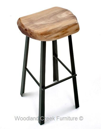 Modern Bar Stool With Live Edge Slab Natural Wood Organic Modern Bar Stools Wood Bar Stools Metal Bar Stools