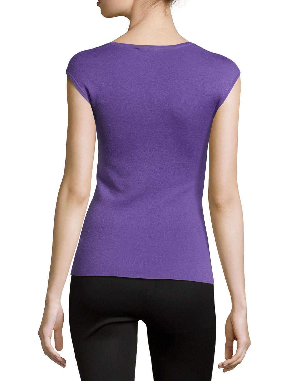 Cap-Sleeve Cashmere Top, Hyacinth