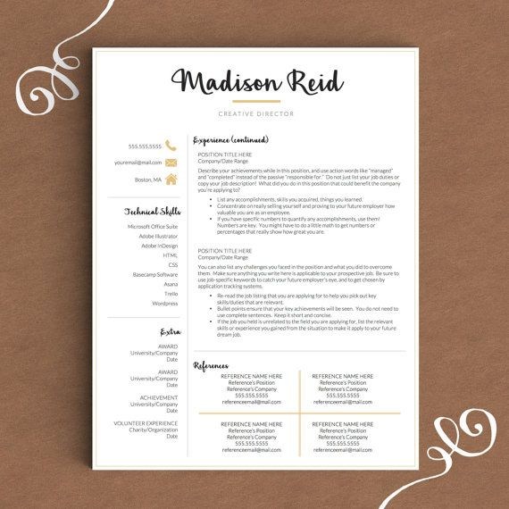 Modern Resume Template For Word And Pages The Madison  Instant
