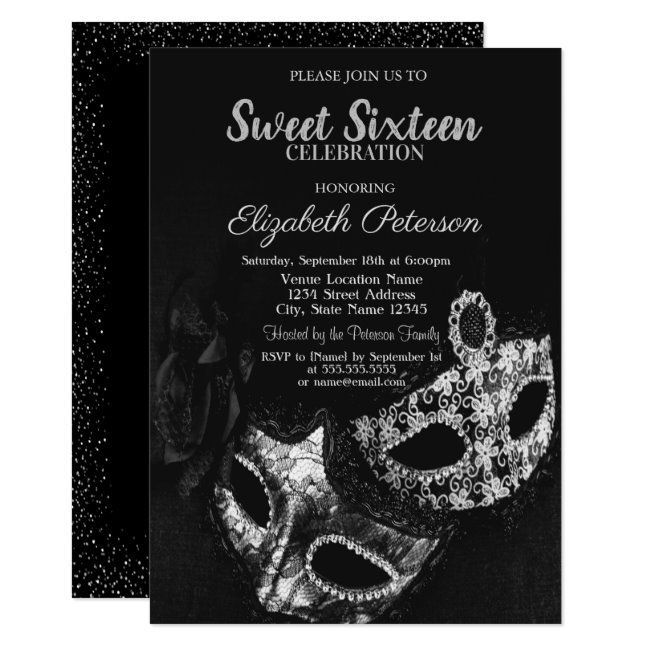 Masquerade,Masque,Black,Gray Confetti Sweet 16 Invitation | Zazzle.com  Masquerade,Masque,Black,Gray Confetti Sweet 16 Invitation #Ad , #sponsored, #Confetti#Gray#Sweet#Ma #Confetti #Invitation #MasqueradeMasqueBlackGray #Sweet #Zazzlecom