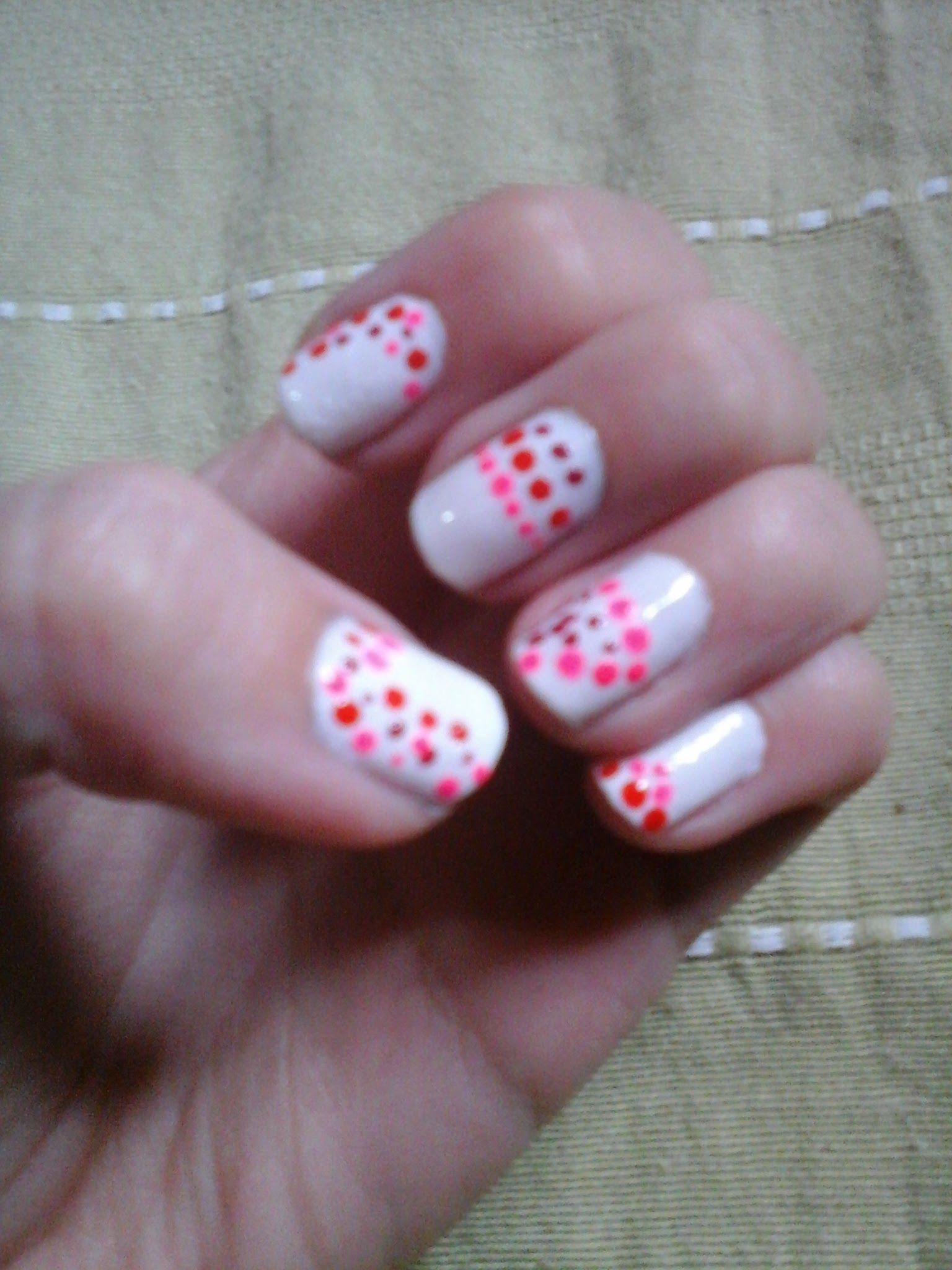 White Base And Polka Dots In Different Shades Of Pink