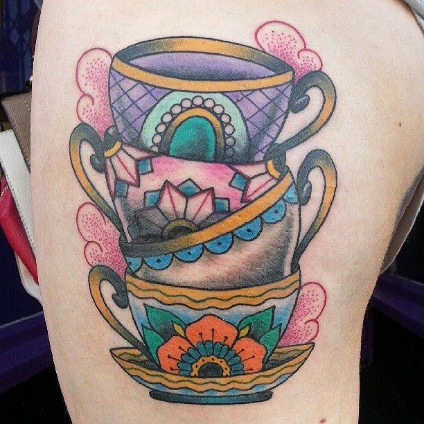Tea Cup Set Tattoo By Bryony Alys | Inked | Pinterest | Tea cup set ...