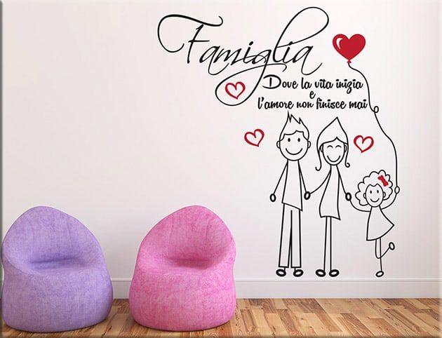 Adesivi murali amore famiglia frase arredo ws1333 for Decorazioni da parete adesive