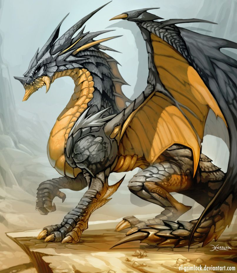 Gelb-Grauer Drache