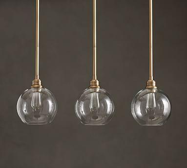 Pb Classic 3 Light Mercury Glass Globe Hood Amp Bronze Cord