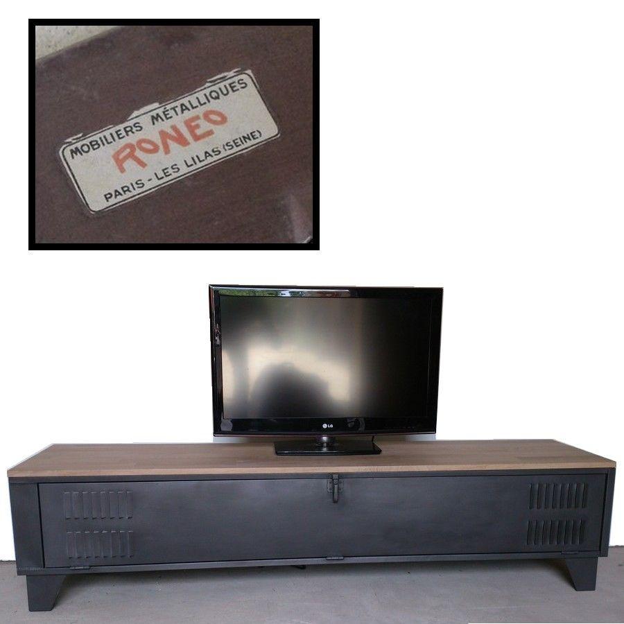 Vestiaire ron o d tourn en meuble tv industriel plateau en ch ne cr ation restauration de - Restauration meuble industriel ...