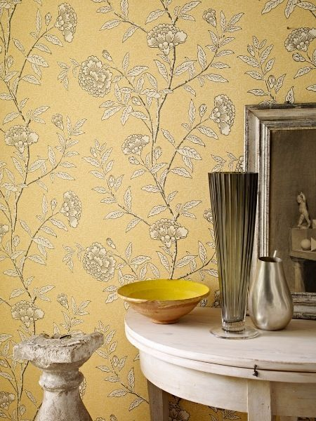 Lemon and grey wall paper   Wohnung   Pinterest   Wall papers, Walls ...