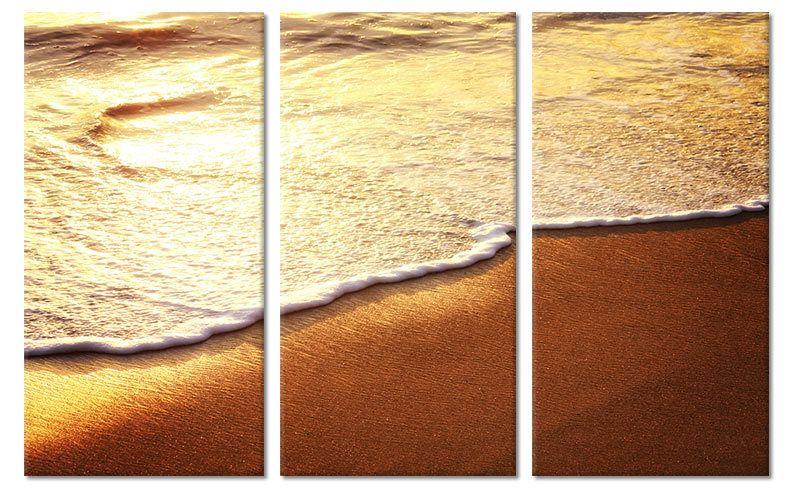 Drieluik canvas schilderij strand in warme kleuren foto